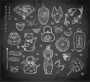 Japan doodle sketch elements on blackboard background Stock Photography