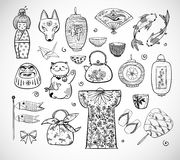 Japan doodle sketch elements on white background Royalty Free Stock Images