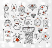 Japan doodle sketch elements on white glowing background. Vector illustration Royalty Free Stock Photography