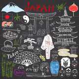 Japan doodles elements. Hand drawn sketch set with Fujiyama mountain, Shinto gate, Japanese food sushi and tea set, fan, theater m Stock Photo