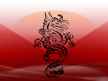 Japan dragon. White-red nice japan dragon Royalty Free Stock Photo