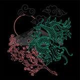 Japan dragon line. Trendy design embroidered line Japan neon dragons with sakura, mountain and sun Modern vector illustration mascot logo print street wear brand stock illustration