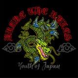 Japan dragon print vector illustration