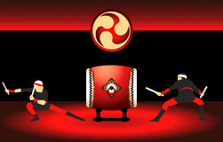 Japan drummers. Two japanese taiko drummers ready to show at the bright red scene Royalty Free Stock Image