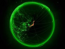 Japan on Earth with network vector illustration