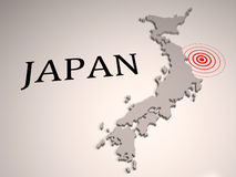 Japan earthquake. Earthquake zone on Japan 3D map stock illustration