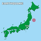 Japan earthquake. Japan map with earthquake epicenter Royalty Free Stock Image