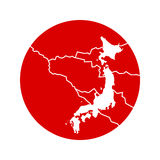 Japan earthquake 2011. Japan earthquake and tsunami tragedy vector illustration, 11th March 2011. Isolated red japan flag circle with white Japan map and Royalty Free Illustration