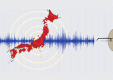 Japan Earthquake Concept Illustration. Illustration of Earthquake shaking Japan with graphic symbol of pen recorder. Vector EPS10 and Raster royalty free illustration