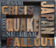 Japan earthquake crisis words Royalty Free Stock Photos