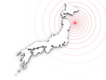 Japan earthquake disaster in 2011. Japan map and shockwave. Japan earthquake disaster in 2011 royalty free illustration
