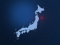 Japan earthquake disaster 2011. Japan map with shockwaves. Japan earthquake disaster 2011 Royalty Free Stock Photo