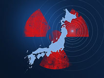 Japan earthquake disaster 2011. Nuclear symbol with Japan map and shockwaves. Japan nuclear meltdown disaster 2011 vector illustration