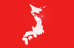 Japan earthquake disaster in 2011. Japan map with shock waves on a red background royalty free illustration