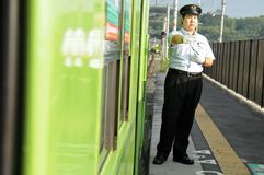 Japan, ein Zug shinkansen stockfotos