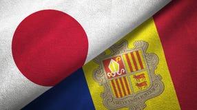 Japan en Andorra twee vlaggen textieldoek, stoffentextuur vector illustratie