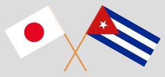 Japan en Cuba De Japanse en Cubaanse vlaggen Offici?le kleuren Correct aandeel Vector royalty-vrije illustratie