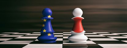 Japan and European Union flags on chess pawns on a chessboard. 3d illustration. Japan and EU cooperation concept. Japan and European Union flags on chess pawns Royalty Free Stock Images