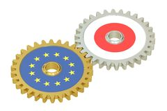 Japan and EU flags on a gears, 3D rendering Royalty Free Stock Photo
