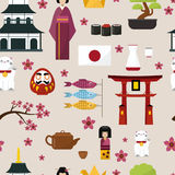 Japan famouse culture architecture buildings and japanese traditional food vector icons of travel vacation to country. Japan famouse culture architecture Stock Photo