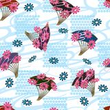 Japan fan flower style square seamless pattern Stock Photography