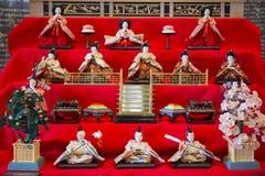 JAPAN - FEBRUARY 21, 2016 : Hina dolls on shelf for Hinamatsuri Royalty Free Stock Images