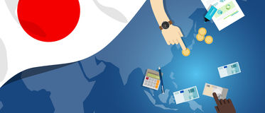 Japan fiscal money trade concept illustration of financial banking budget with flag map and currency. Japan economy fiscal money trade concept illustration of Stock Images