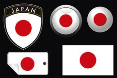 Japan flag. Vector japan grest flag with web button and label Royalty Free Stock Images