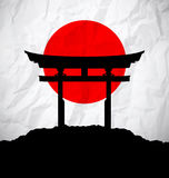 Japan flag as sunrise with japan gate Royalty Free Stock Photos