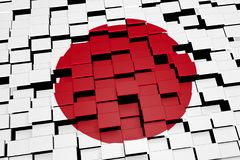 Japan flag background formed from digital mosaic tiles, 3D rendering Stock Image