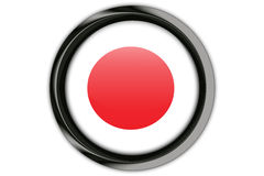 Japan flag in the button pin Isolated on White Background Royalty Free Stock Photos