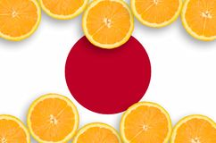 Japan flag in citrus fruit slices horizontal frame. Japan flag in horizontal frame of orange citrus fruit slices. Concept of growing as well as import and export stock photos