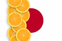 Japan flag and citrus fruit slices vertical row. Japan flag and vertical row of orange citrus fruit slices. Concept of growing as well as import and export of stock photography
