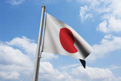 Japan Flag with Clouds Royalty Free Stock Photo