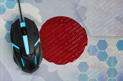 Japan flag and computer mouse. Digital threat, illegal actions on the Internet. Japan flag and modern backlit computer mouse. The concept of digital threat royalty free stock images