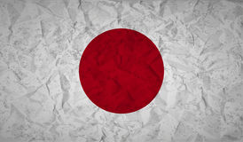 Japan flag with the effect of crumpled paper and grunge Stock Photo