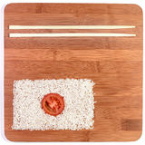 Japan flag food. Japan flag made with food and chopstick on bamboo Royalty Free Stock Photos