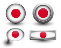 Japan flag icons. Japan flag in icons and button shape Royalty Free Stock Images