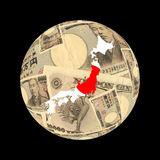 Japan flag map on currency Royalty Free Stock Photos