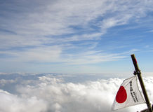 Japan flag on Mount Fuji Royalty Free Stock Photos