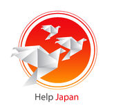 Japan flag and origami birds Royalty Free Stock Images