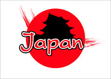 Japan flag with pagoda Royalty Free Stock Photo