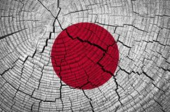 Japan Flag. Painted on old wood background stock images