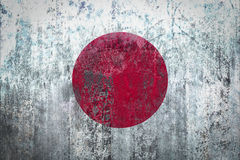 Japan Flag painted on a Wall. Ddistressed Painting of a Flag on an old Wall Royalty Free Stock Photo
