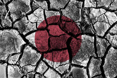 Japan flag painting on high detail cracked ground. 3D illustration Royalty Free Stock Photos