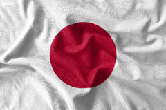 Japan flag painting on high detail of wave cotton fabrics . 3D illustration Royalty Free Stock Photo