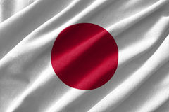 Japan flag painting on high detail of wave cotton fabrics . 3D illustration Royalty Free Stock Images