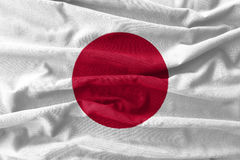 Japan flag painting on high detail of wave cotton fabrics. 3D illustration Royalty Free Stock Photos