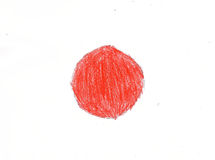 Japan flag, pencil drawing illustration kid style photo Stock Photos