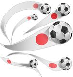 Japan flag set with soccer ball. Isolated Royalty Free Stock Photos